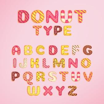 Пончик шрифта шаблон мультяшном стиле