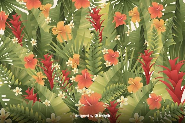 Естественный тропический фон с листьями