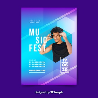 Шаблон постера музыкального фестиваля с фото