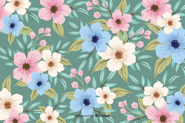 Естественный фон с красочными нарисованными цветами