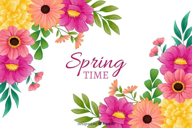 色とりどりの花で春の背景