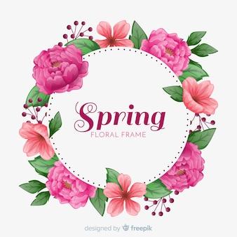 花のフレームと春の背景