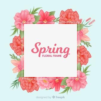 花のフレームと単純な春の背景