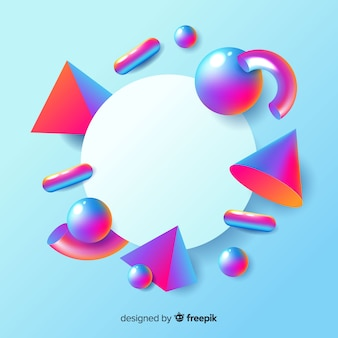 三次元の幾何学的形状を持つ空白のバナー