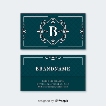 Синий элегантный шаблон визитной карточки