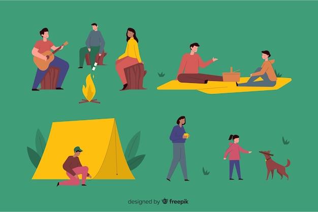 フラットデザインのキャンプの人々のパック
