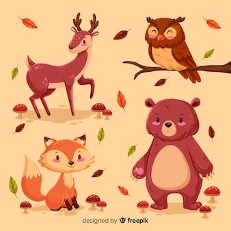 手描きの森の動物のコレクション