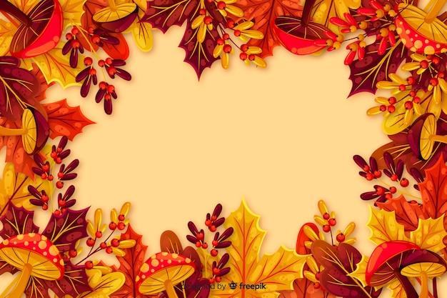 Плоский осенний фон с листьями