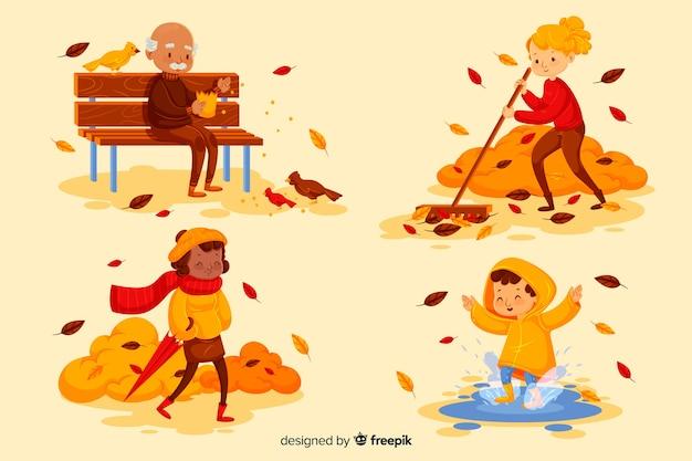 秋の公園で人々のイラスト