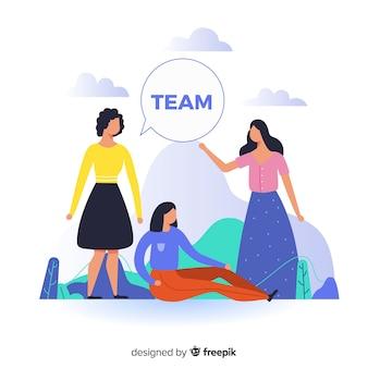 ランディングページのチームワークの概念