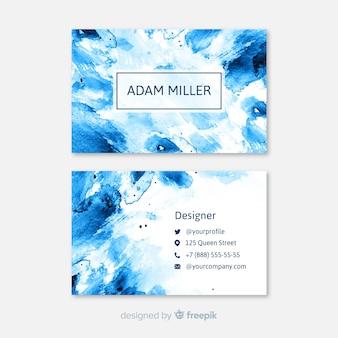 Синяя акварель абстрактная визитная карточка