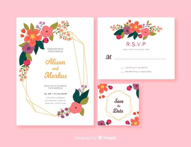 花のフレームの結婚式のひな形テンプレート