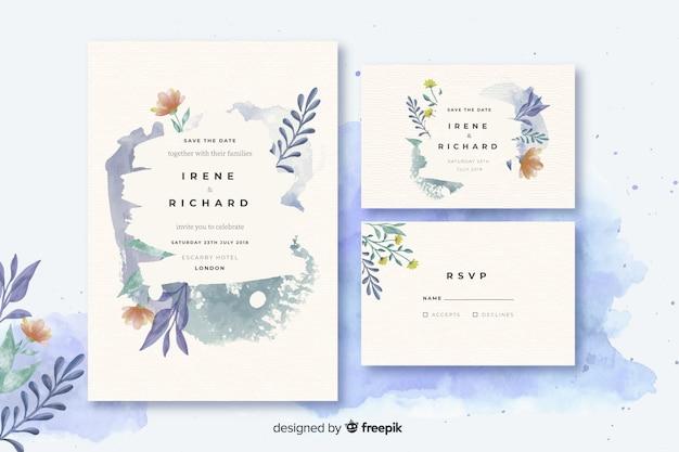 水彩の結婚式のひな形テンプレートコレクション