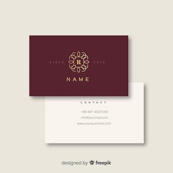 Бургундская и белая элегантная визитка