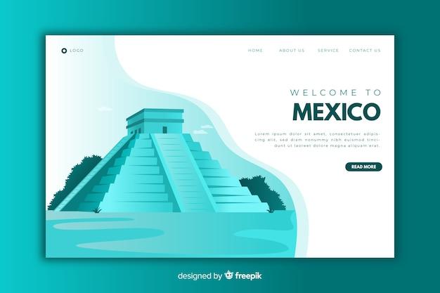Добро пожаловать на целевую страницу мексики синего цвета