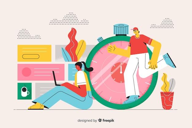 Концепция управления временем иллюстрации целевой страницы