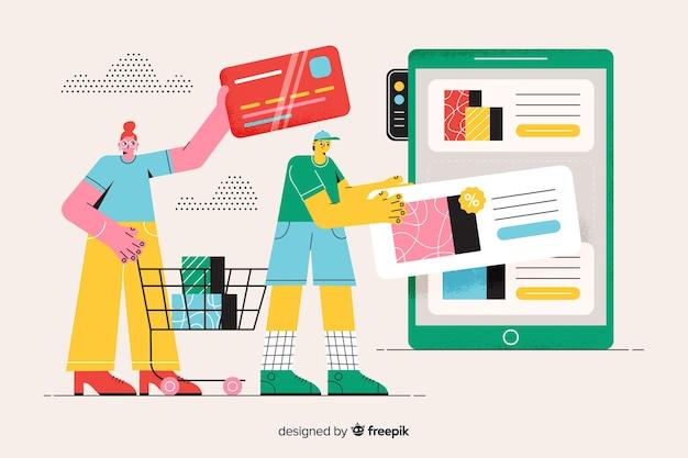 リンク先ページの図のオンラインショッピングの概念