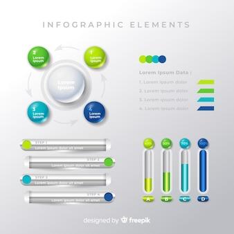 Коллекция шаблонов элементов красочные инфографики