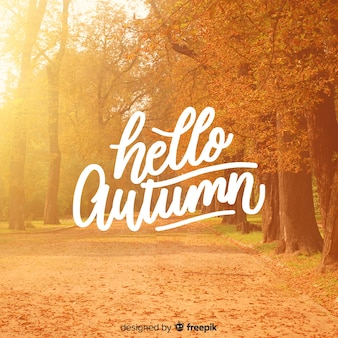 こんにちは写真と秋のレタリングの背景
