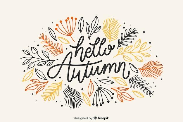 Привет осень надпись фон с листьями