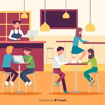 カフェに座っている人のパック