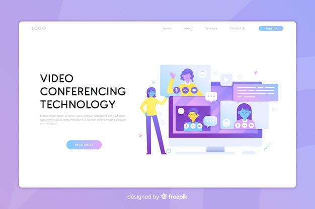 ビデオ会議コンセプトのランディングページ