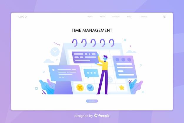 時間管理コンセプトのランディングページ