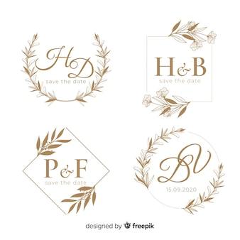 結婚式の手描き花のロゴのテンプレート