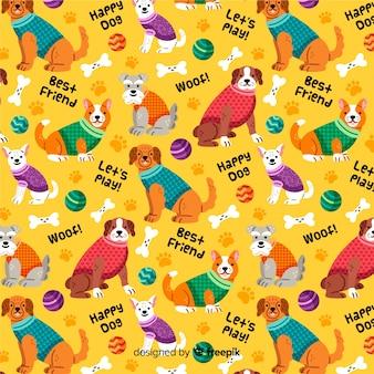 犬のカラフルなパターン背景