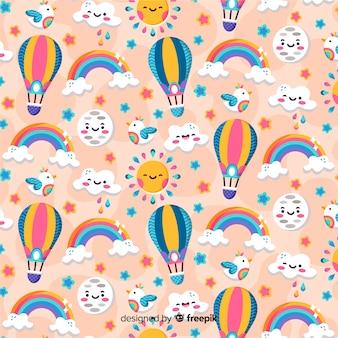 虹とカラフルなパターンの背景