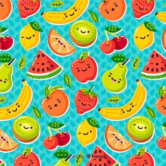 フルーツのカラフルなパターン背景