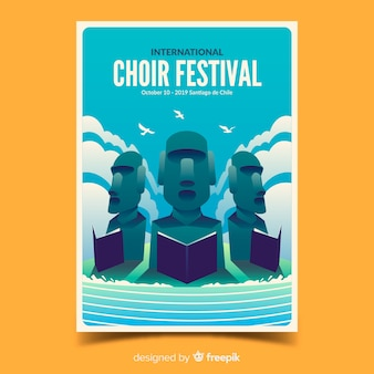 Афиша хорового фестиваля с градиентной иллюстрацией