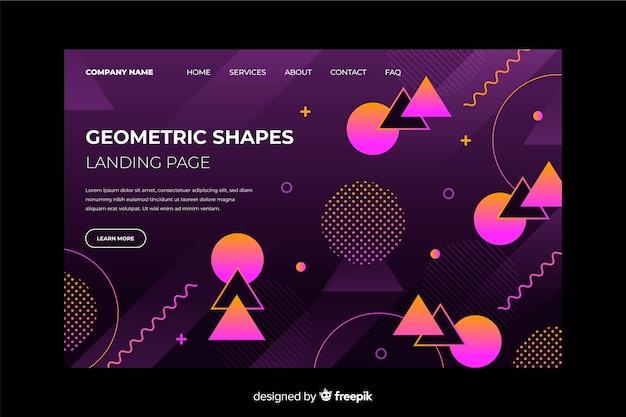 グラデーションの幾何学的なランディングページテンプレート