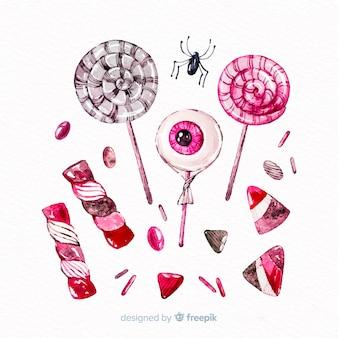 水彩風ハロウィーンキャンディコレクション