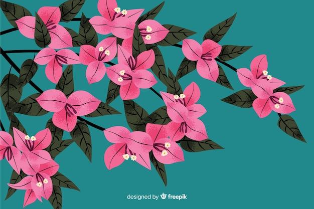 手描きの花と自然な背景