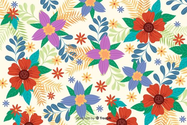 Плоский дизайн красивый цветочный фон