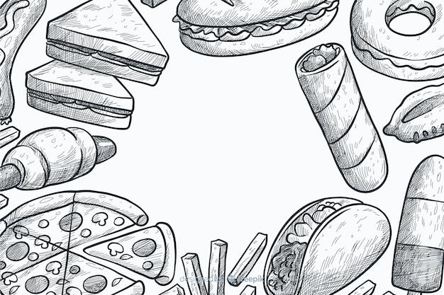 手描きのファーストフードの背景
