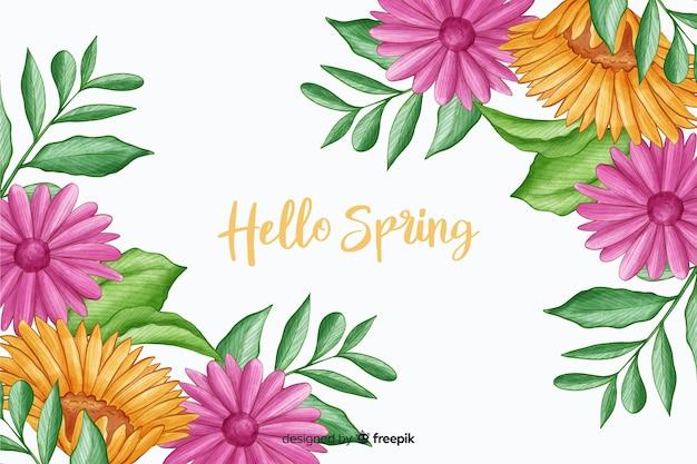 こんにちは春の引用と紫の植物