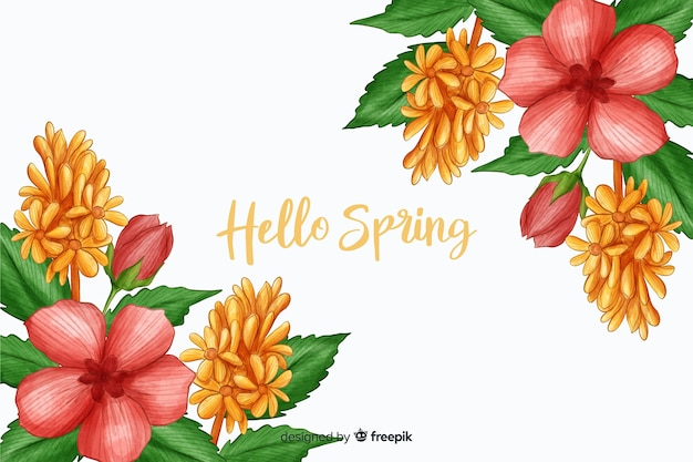 こんにちは春の引用とピンクの植物