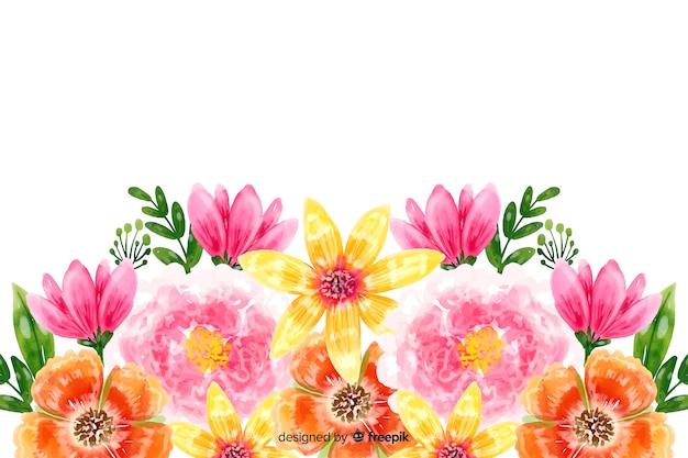 カラフルな水彩花の自然な背景