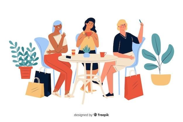 Молодые женщины проводят время вместе в доме