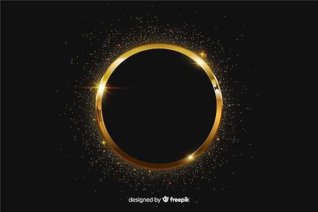 Золотая сверкающая рамка на черном фоне
