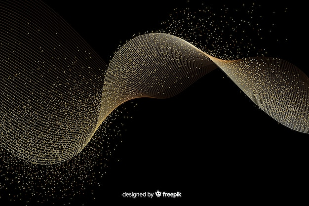 暗い背景に抽象的な黄金の波