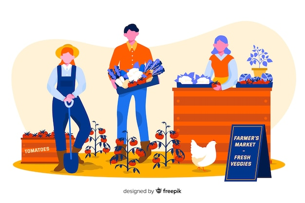 一緒に働く農場の人々のイラスト