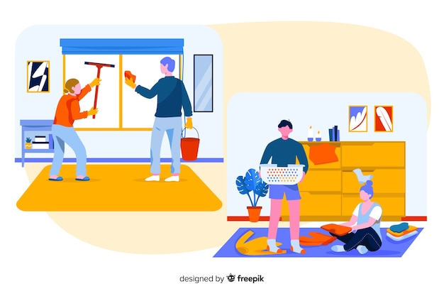 Работа по дому, выполненная молодыми людьми, иллюстрирована