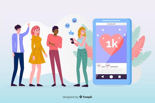 フラットなデザインとソーシャルメディアの友情の概念