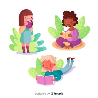 外を読んでいる若い女の子