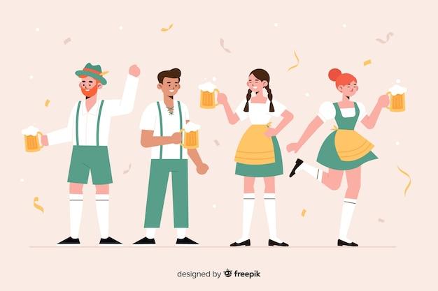 オクトーバーフェストを祝うフラットなデザインの人々