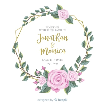 フラットなデザインに花のフレームの結婚式の招待状