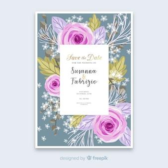 Ручная роспись цветочные свадебные приглашения шаблон